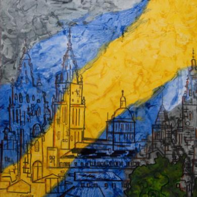 Catedral. Óleo/lenzo. Técnica mixta texturas. 80 x 80 cm.