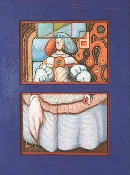 'A MENIÑA II CONSTRUCCTIVA' diptico oleo, 50x38