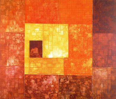 Paisaje. 1380x 1200mm. Cobre (6). 1380x1200mm. Papel Fabriano. Dez tintas. Estampado na  Academia de España en Roma.
